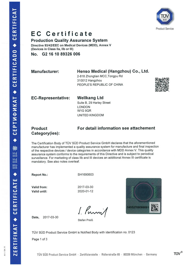 CE certificate for medical products in class II or III