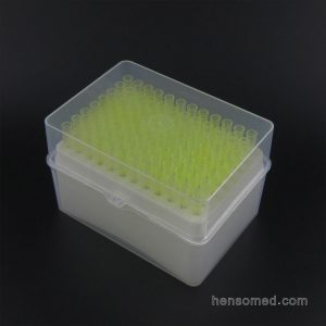 200ul yellow pipette tip in rack
