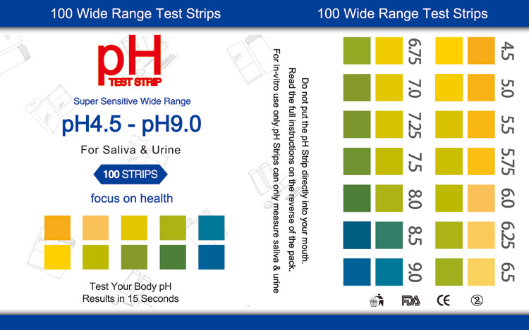 Ph Test Strips 45 90 For Urine And Saliva 100 Strips Henso Medical