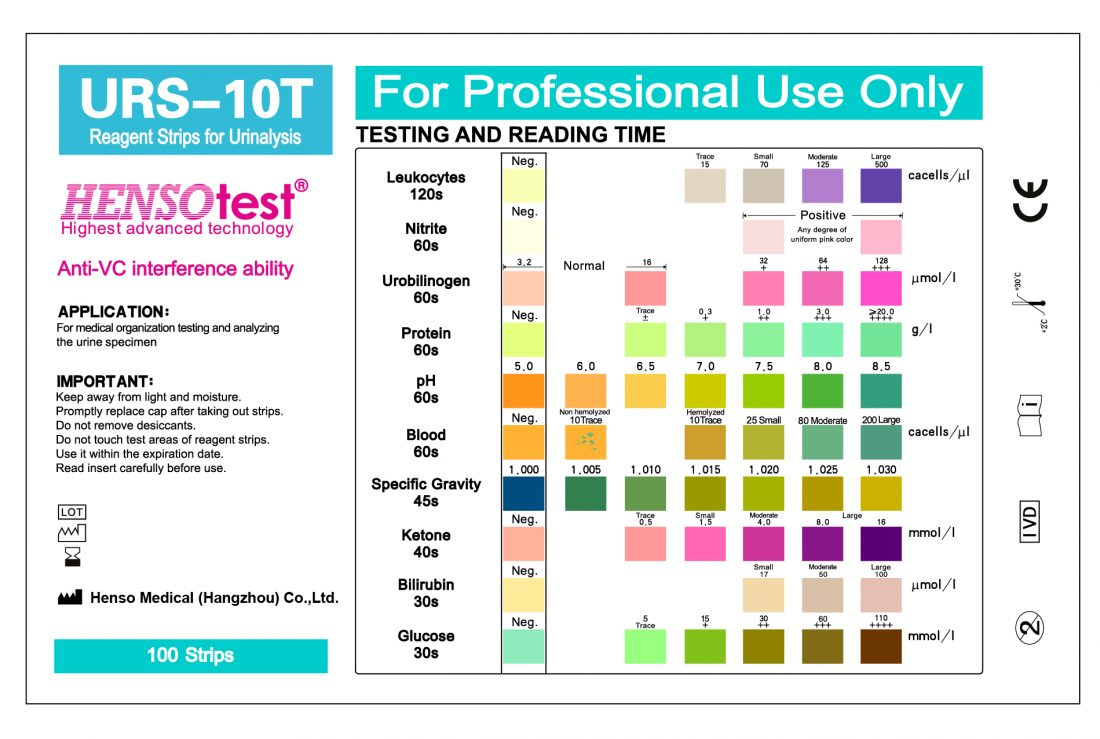 Reagent strip for urinalysis urs 10t color chart of urs 10t urine test strip geenschuldenfo Image collections