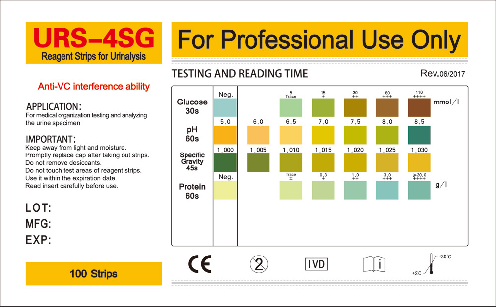 Urine Strips For Glucose Ph Protein Specific Gravity Test  Henso